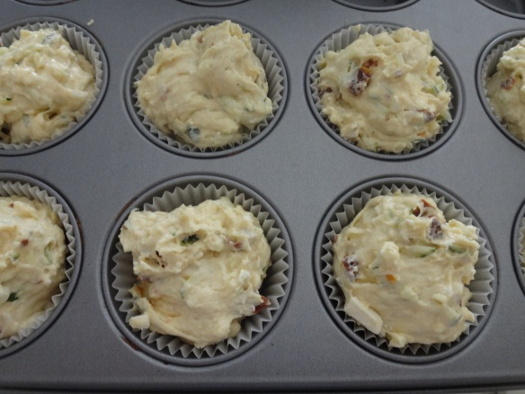 muffins with zucchini feta and tomatoes